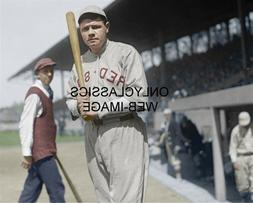 1919 BABE RUTH HOLDING BAT BOSTON RED SOX FENWAY PARK BASEBA