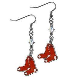 Siskiyou BCE115 Boston Red Sox Crystal Dangle Earrings
