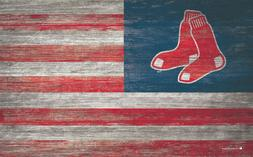 "Boston Red Sox American Flag Large Wood Sign - New 11"" x 19"""