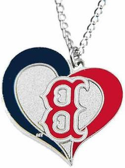 Boston Red Sox Baseball Logo MLB Heart Swirl Charm Silver Pe