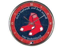 "BOSTON RED SOX CHROME 12"" ROUND WALL CLOCK MLB BASEBALL MAN"