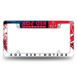 Boston Red Sox Chrome License Plate Frame All Over Tag Cover
