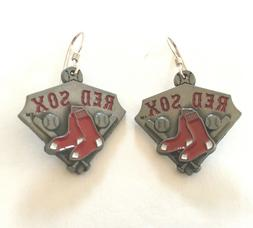 BOSTON RED SOX EARRINGS with charm, MLB, Sterling Silver Ear