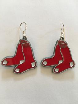 BOSTON RED SOX EARRINGS with SOX charm, MLB, Sterling Silver