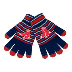 boston red sox gloves acrylic stripe knit