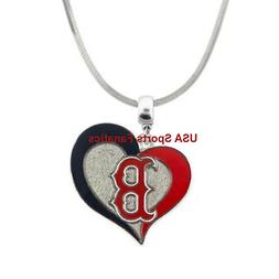 Boston Red Sox Heart Swirl Logo Pendant Necklace On A 925 Sn