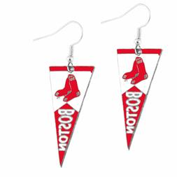 Boston Red Sox MLB Team Pennant Silver Dangle Earrings