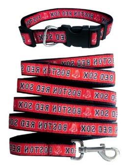 Boston Red Sox Pet Nylon Collar and Leash; Medium Fits Neck