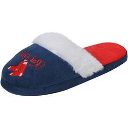 Boston Red Sox Size 9/10 MLB Womens Colorblock Fur Slide Sli