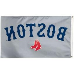 Boston Red Sox Team Logo Gray Tailgate Indoor Outdoor 3x5 Fl
