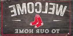 "Boston Red Sox Welcome to our Home Wood Sign - New 12"" x 6"""