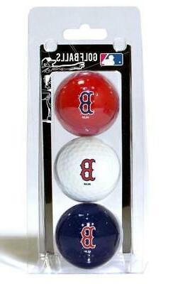 Boston Red Sox 3 Pack Golf Balls  MLB White Golfing Pk Ball