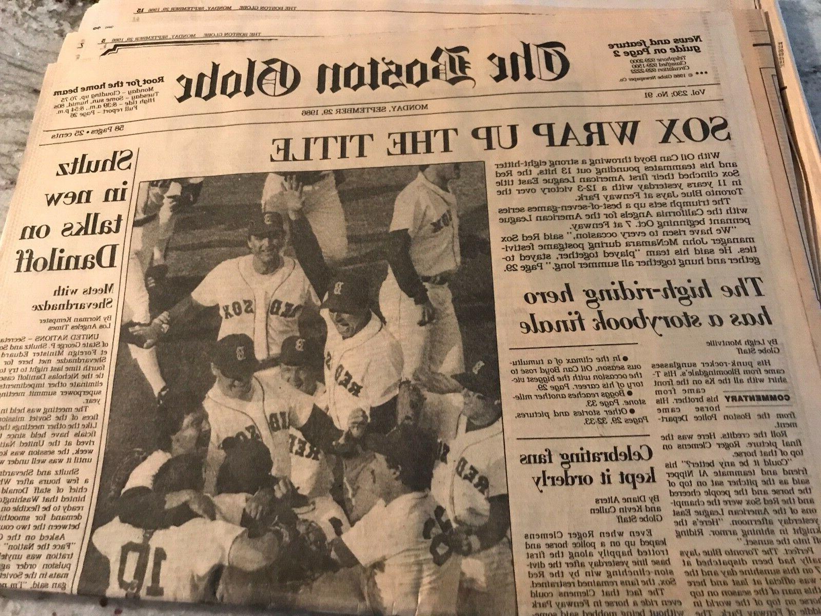 boston red sox 9 29 1986 wrap