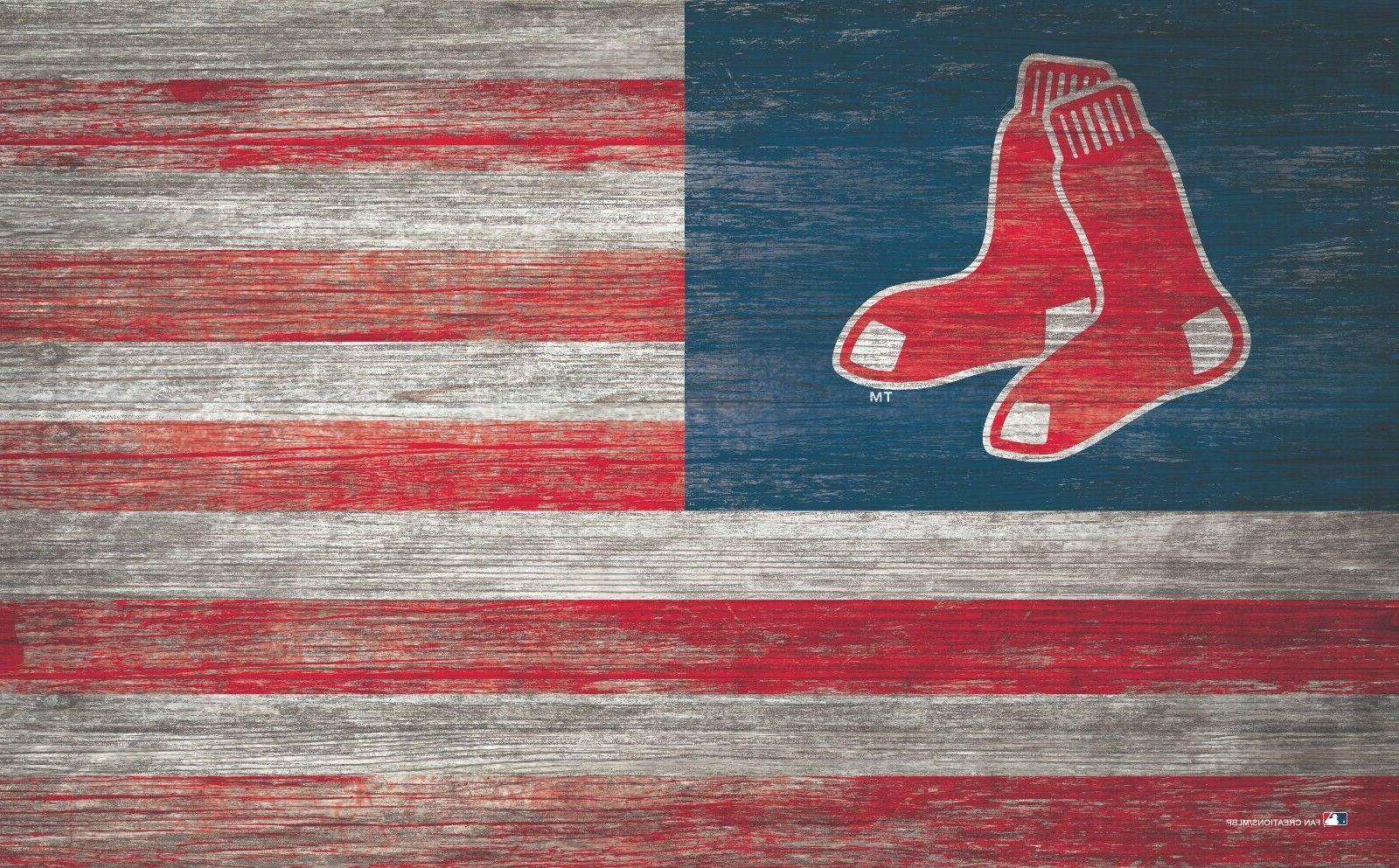 boston red sox american flag large wood