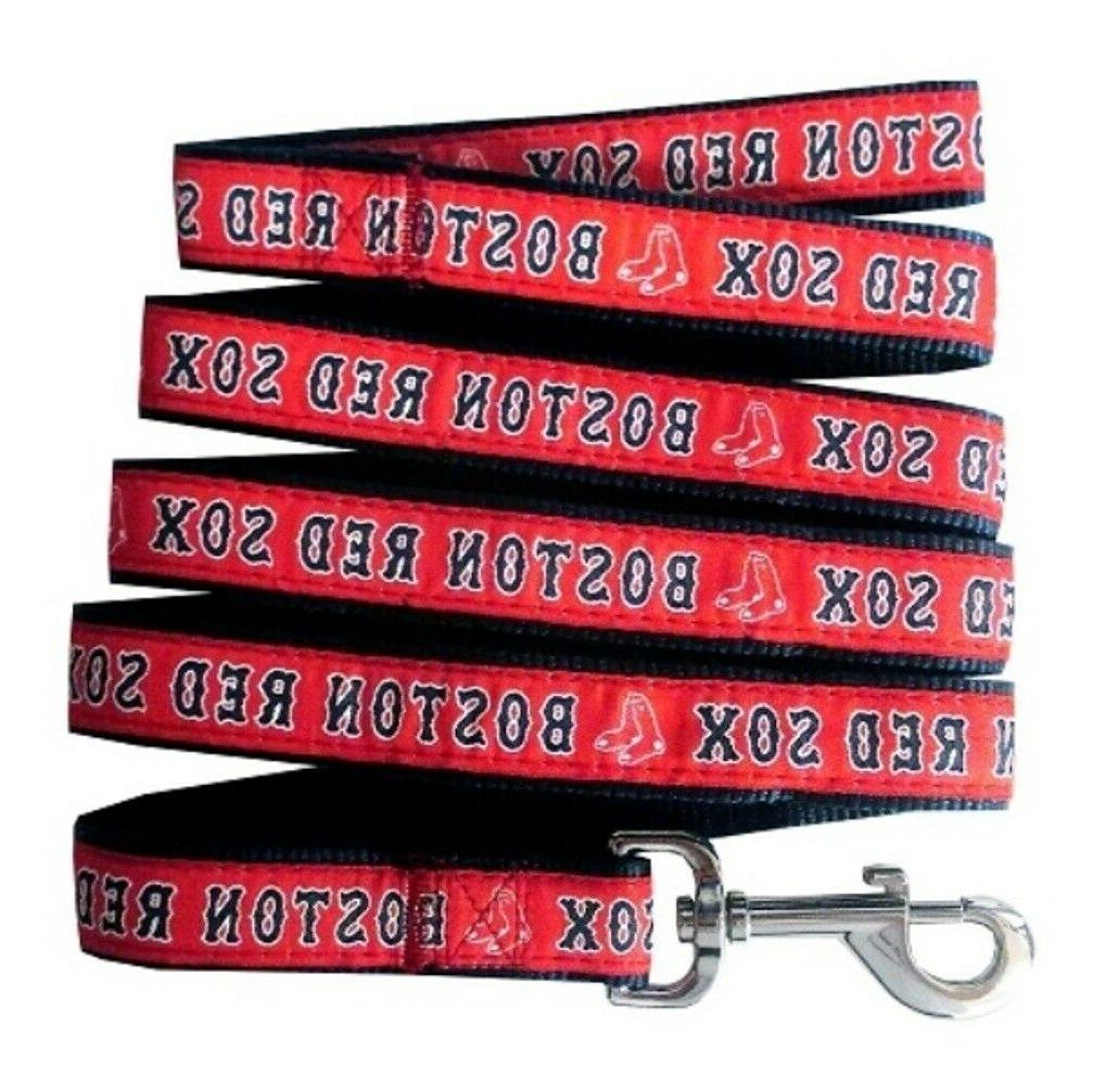Boston Red Sox Nylon Pet Leash; Large is 1 In Wide and 6 Ft