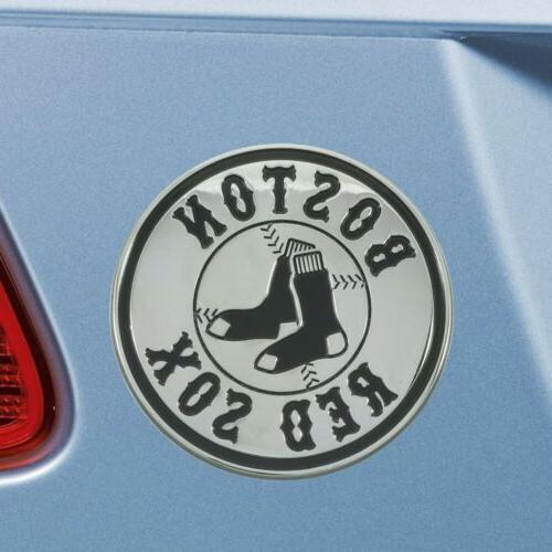 Boston Red Solid Chrome Auto Emblem
