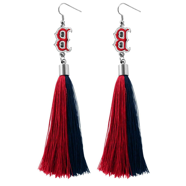 boston red sox tassel earrings mlb authentic