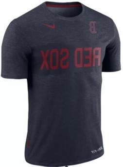 Nike Men's Boston Red Sox Dri Fit Slub Stripe Jersey Shirt