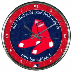 "MLB Boston Red Sox Chrome Clock, 12"" x 12"""