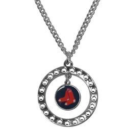 "MLB Boston Red Sox Rhinestone Hoop Necklace Circle 18"" Jewel"
