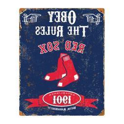 Party Animal MLB Embossed Metal Vintage Pub Signs,Boston Red