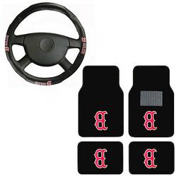 New 5pc MLB Boston Red Sox Car Truck Floor Mats & Steering W