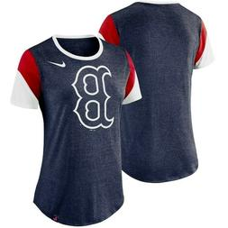 NEW NIKE Boston Red Sox Women's Heathered Navy Sleeve Stripe