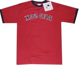 New Boston Red Sox Wordmark Ringer Red Mens T Shirt