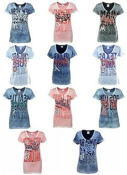 New MLB 5th & Ocean Women's Double Dye Slub T-Shirt
