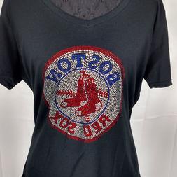 Women's Boston Red Sox Rhinestone baseball  Vneck T-Shirt Te